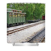 Railway Station With Old Wagons And Train Shower Curtain