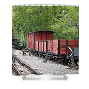 Railway Station With Old Wagons Shower Curtain