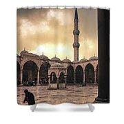 Rain At The Blue Mosque Shower Curtain