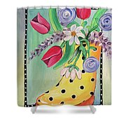 Rain Boots And Flowers Shower Curtain
