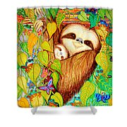 Rain Forest Survival Mother And Baby Three Toed Sloth Shower Curtain