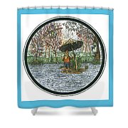 Rain Gnome Rain Circle Shower Curtain