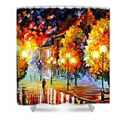 Rain In The Night City Shower Curtain