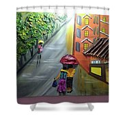 Rain Nature And Street  Shower Curtain