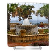 Rain Soaked Fountain Shower Curtain