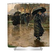 Rain Storm Union Square Shower Curtain by Childe Hassam