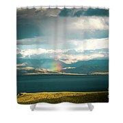 Rainbow Above Lake Manasarovar Kailash Yantra.lv Shower Curtain