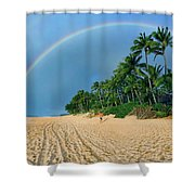 Rainbow At Pipeline, North Shore,  Shower Curtain