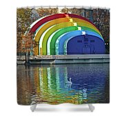 Rainbow Bandshell And Swan Shower Curtain