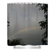 Rainbow Between The Trees Shower Curtain