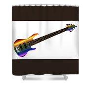 Rainbow Big Neck Bass Guitar Shower Curtain