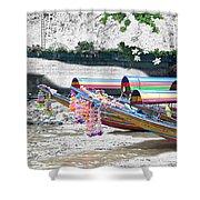 Rainbow Boats Thailand Photo Art Shower Curtain