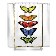 Rainbow Butterflies Shower Curtain by Lucy Arnold