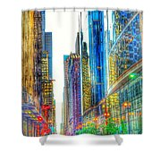 Rainbow Cityscape Shower Curtain