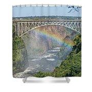 Rainbow Crossing Gorge Beneath Victoria Falls Bridge Shower Curtain