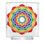 Rainbow - Crown Chakra - Pointillism Shower Curtain