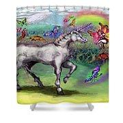 Rainbow Faeries And Unicorn Shower Curtain