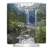 Rainbow Falls Green Shower Curtain
