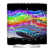 Rainbow Flower Girl Shower Curtain