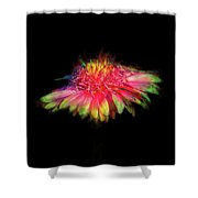 Rainbow Flower On Black Shower Curtain