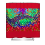 Rainbow Hammerhead Shark Shower Curtain
