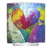 Rainbow Heart In The Cloud Acrylic Paintings Shower Curtain