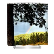 Rainbow In Pine Country Shower Curtain