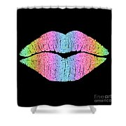 Rainbow Kiss, Lipstick On Pouty Kissing Lips, Fashion Art Shower Curtain