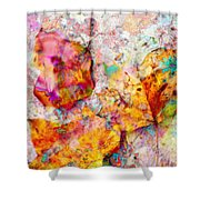 Rainbow Abstract Leaves Shower Curtain
