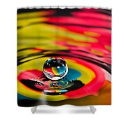 Rainbow Marble Water Drop Shower Curtain