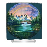 Rainbow In Mountains Shower Curtain