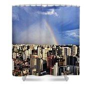 Rainbow Over City Skyline - Sao Paulo Shower Curtain