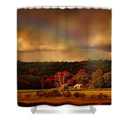 Rainbow Over Countryside Shower Curtain