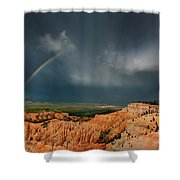 Rainbow Over Hoodoos Bryce Canyon National Park Utah Shower Curtain