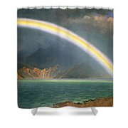 Rainbow Over Jenny Lake Wyoming Shower Curtain by Albert Bierstadt