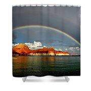 Rainbow Over Lake Powell Shower Curtain