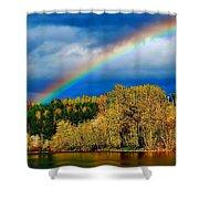 Rainbow Over Mill Pond Shower Curtain