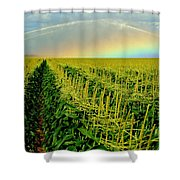 Rainbow Over The Cornfields Shower Curtain