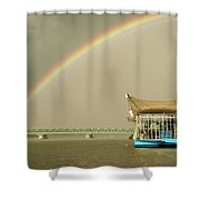 Rainbow Over The Danube In Tulln Austria Shower Curtain