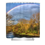 Rainbow Over The River Shower Curtain