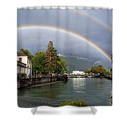 Rainbow Over Thiou River In Annecy Shower Curtain