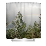 Rainbow Past The Treeline Shower Curtain