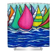 Rainbow Regatta Shower Curtain