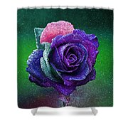 Rainbow Rose Among The Stars Shower Curtain