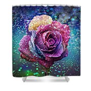 Rainbow Rose In The Rain Shower Curtain