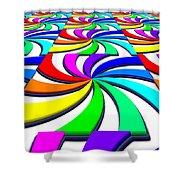 Rainbow Spectral Swirl Shower Curtain