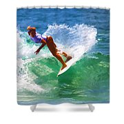 Rainbow Surf Day Shower Curtain