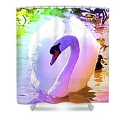 Rainbow Swan Shower Curtain