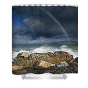 Rainbow To Heaven Shamrock Shores  Shower Curtain