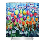 Rainbow Tulips Shower Curtain